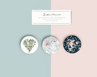 Pin back button tropical flower, Holiday gift, Thanksgiving gift idea, Button floral, Pinback to bag, Pinback Buttons to jacket or backpack