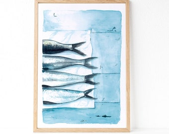 Sardines print, Fish print, Sea wall art, Sea Decor, Maritime decor, Nordic decor, Scandinavian decor, Nordic style, watercolour print