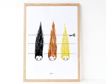 HAIRCUT :  Illustration haircut,  decorate the bathroom or a hairdresser, funny illustration, gift idea