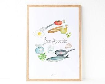 Food illustraion: kitchen decoration, illustrations Mediterranean food, to decorate the kitchen,  illustration Mediterranean food