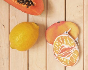 TANGERINE, MANDARIN :  Tangerine purse, fruit tropical case, funny case fruit, gift idea, mandarin orange