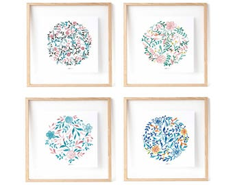 4 Prints: Mandala Print, Botanical Mandala, Zen Botanical Illustration, Wedding favors idea, floral prints, gift idea for wedding guests.