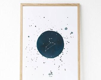 Constelaciones pintadas con acuarelas : Tauro - Géminis - Cáncer - Leo