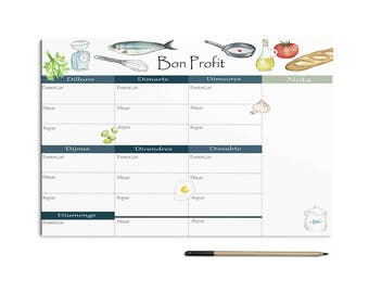 Weekly meal planner, nice gift idea, meal Planner and shopping list.  Watercolor stationery