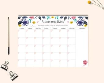PLANNER.  Monthly Planner, Desk Planner, Watercolor monthly planner A4. Calendar planner. Planner 2017-2018. Botanical planner design.