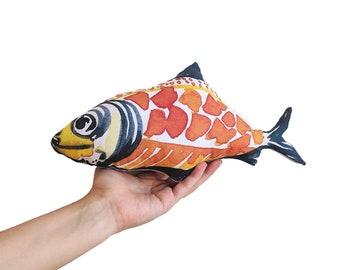 Kids decor idea, fish pillow, Baby gift, orange fish plush, new baby gift, summer gifts, stuffed plush toy, Sea decor, Maritime decor