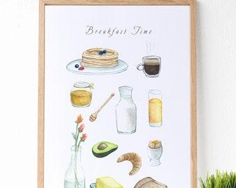 TIEMPO DEL DESAYUNO : Ilustración tiempo del desayuno, comida pintada con acuarelas, lamina para decorar la cocina.