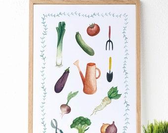 """Lámina """"Olores de la huerta"""" : Pintura en acuarelas ideal para decorar la cocina. Descarga instantánea."""