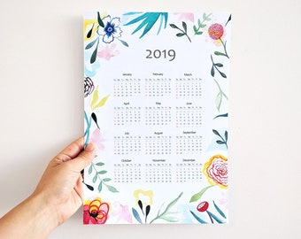 Calendario 2019. Calendario floral de pared 2019, idea de regalo para año nuevo.
