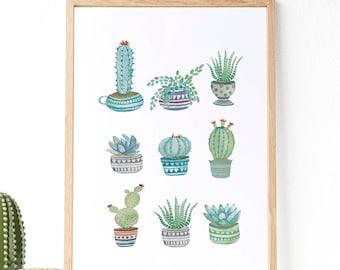 Cactus y Suculentas : Ilustración de tipos de cactus y suculentas, pintura hecha con acuarelas. Decoración botánica.