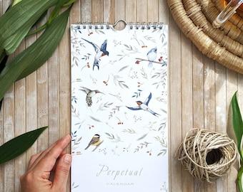 Perpetual birthday calendar, Perpetual wall calendar, anniversaries calendar, illustrated calendar, animal calendar, birthday dates