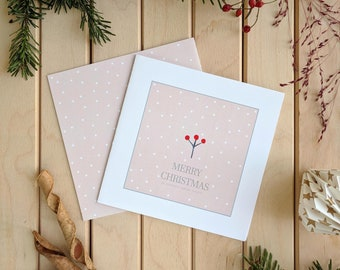 Pink Christmas Cards, Holiday card, Pink Christmas cards with envelope, Holiday Greeting Card, Xmas Card Set, Pink Christmas Cards.