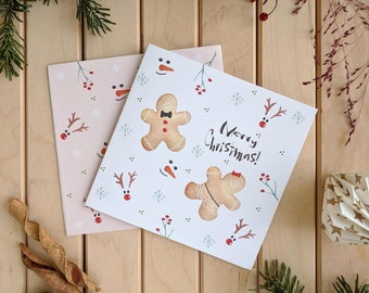 Christmas cookie card, Gingerbread Man Cards with envelope, Holiday Card, Xmas Card Set, Greeting card , funny christmas cards boxed set.