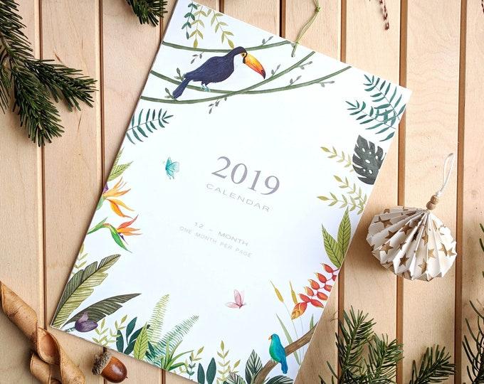 Featured listing image: Calendario 2019. Calendario floral de pared 2019, idea de regalo para año nuevo.