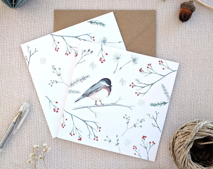Featured listing image: Christmas Cards, Robin Greeting Card, Watercolor cards with envelope, Holiday Greeting Card, Holiday Card, Xmas Card, Boxed Christmas Cards