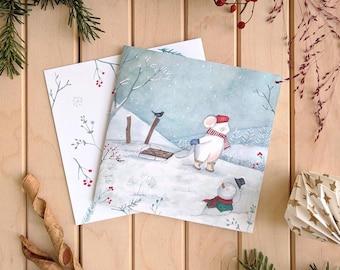 Tarjeta de Navidad - Muñeco de nieve - Paquete de tarjetas de navidad