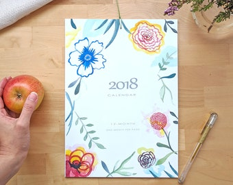 Calendario 2018. Calendario floral de pared 2018, idea de regalo para año nuevo.