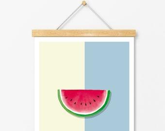 Póster sandía:  Pintura en acuarela, decoración de cocina. Decoración tropical.