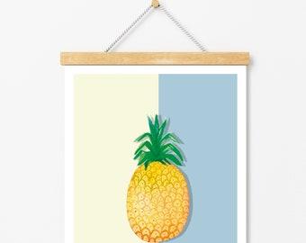 Póster piña:  Pintura en acuarela, decoración de cocina. Decoración tropical.