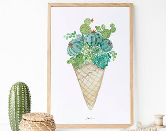 Cactus ilustración | ilustracion botánica | Cactus decoración pared | Cactus poster | Decoración de pared | Poster cactus