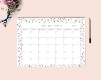 Monthly calendar printable | Desk Planner | Monthly Planner | Pdf monthly planner A4 and letter size | Instant download.