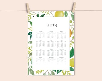 Calendario 2019 descargable, calendario imprimible.