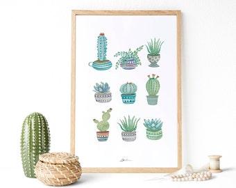 Succulent print : Cactus print, greenery art, Plant prints, botanical print, cactus wall art, cacti art, greenery print. Botanical print