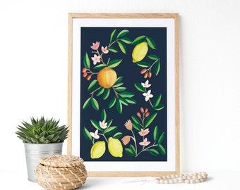 """Lámina """"Limones y alcachofa"""" : Pintura en acuarelas ideal para decorar la cocina. Descarga instantánea."""