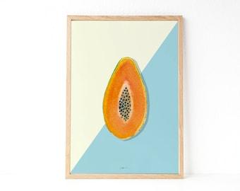 KITCHEN WALL DECOR   Watercolor poster   Papaya print   Tropical decor   Fruit printable   Instant download printable art   Modern style