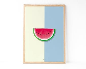 Kitchen wall decor   Watercolor poster   Watermelon decor   Tropical decor   Fruit printable   Instant download printable art   Modern style