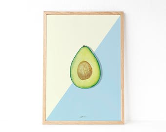 KITCHEN WALL DECOR   Tropical fruit poster   Avocado print   Tropical decor   Avocado poster   Instant download printable art   Modern style