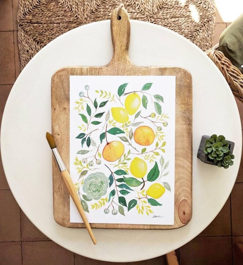 Lemon Illustracion: Lemon print  fall rustic decor  kitchen image 0