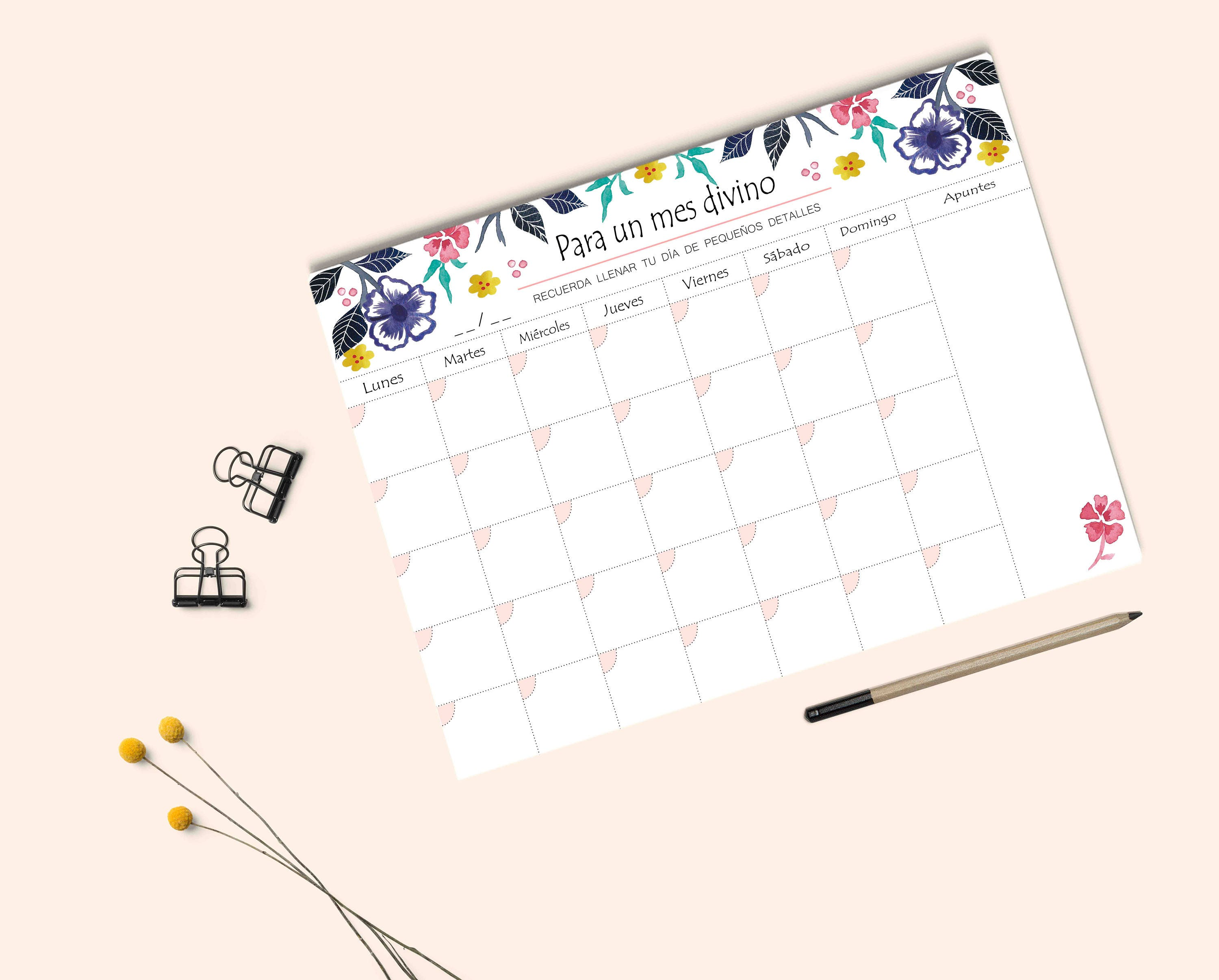 Planner Monthly Planner Desk Planner Watercolor Monthly Planner