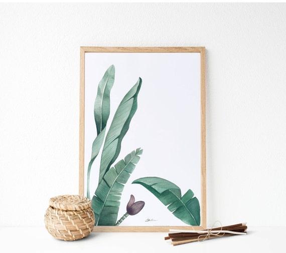 Hojas de plátano : Pintura botánica pintura tonalidades | Etsy