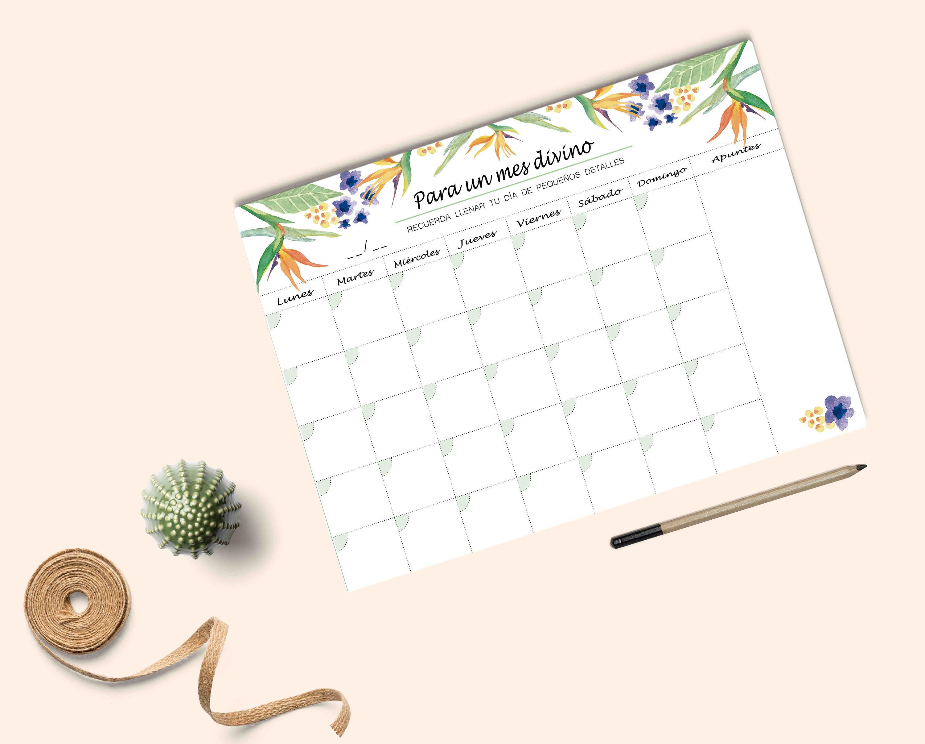 Monthly Planner Desk Planner Watercolor Monthly Planner A4