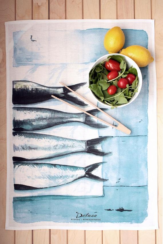 Sardinen: Geschirrtuch Leinen Küche Tuch Fisch Malerei In   Etsy