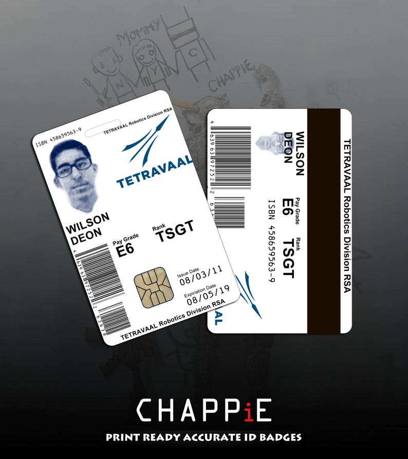 Chappie ID card and bonus Reject decal, Digital Download