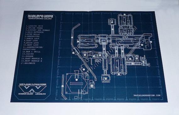Aliens hadleys hope blueprint poster digital download etsy image 0 malvernweather Gallery