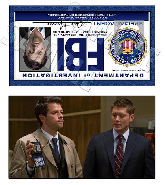 Supernatural FBI ID Cards Castiel Digital Download | Etsy