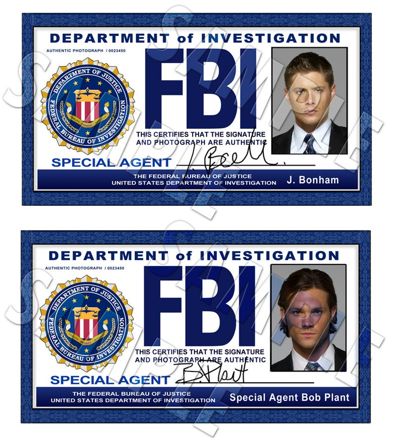 image about Printable Fbi Badge named Supernatural FBI Identity Playing cards Dean and Sam Electronic Obtain
