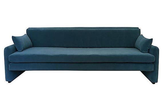 Mid Century Modern Velvet Sofa Custom Sofa One Of Kind Etsy