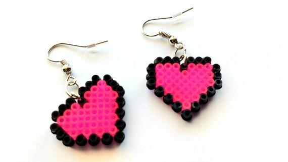 Boucles Doreilles Pixel Coeur Neon Pink Heart Boucles Doreilles Crochet Ou Clipable Bijoux Pixel Mini Perler Beads Perles Hama Mini