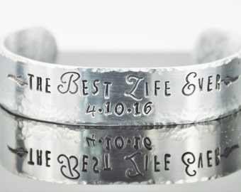 """Best Life Ever Bracelet with Secret Message; Personalized Scripture Cuff; JW Gift; Baptism Gift; Custom Made Bangle; Bible Quote; 5/8"""" x 6"""""""