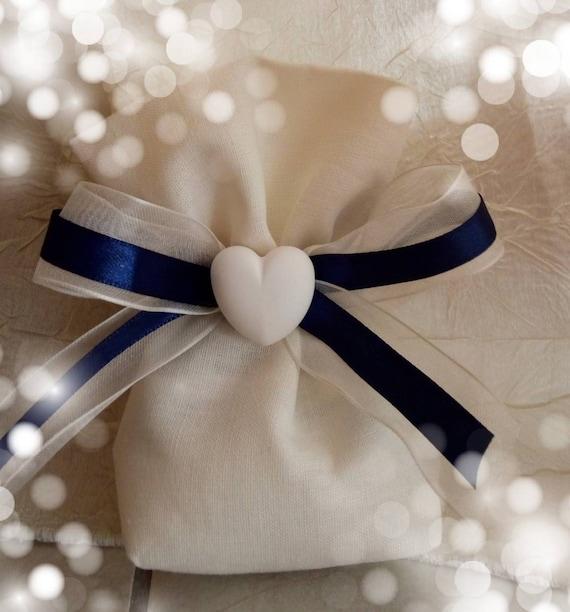 Linen favor bag first communion ceramic hand painted plaster decoration