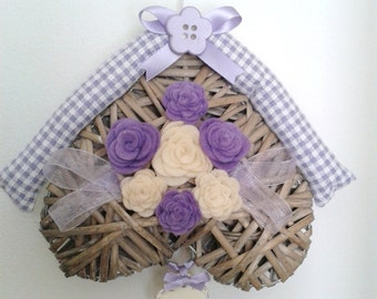 Log cabin heart fuoriporta lilac and white