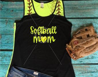 Ladies Softball Mom Love Heart Tank Top **Cute Back** Choose Design
