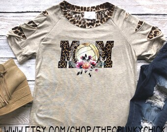 df7c4806 Ladies Leopard Floral Volleyball Mom Cheetah Slitted Short Sleeve Shirt  **CUTE BACK