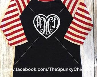 Youth Striped Heart Monogram Valentine Raglan Shirt