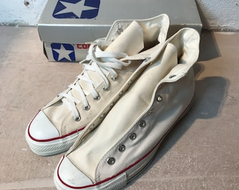 12b2ab1218274 Deadstock CONVERSE des années 1980 Made in USA taille 11 1 2 «blanc»