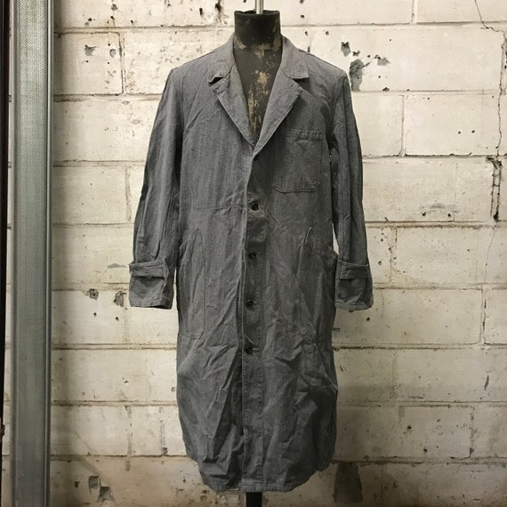 vintage 40s chambray coat french workwear maquign… - image 1
